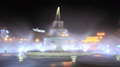 People's House in Romania near fountains night time lapse. Stock Footage