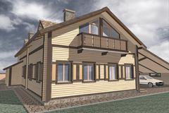two storey villa - stock illustration