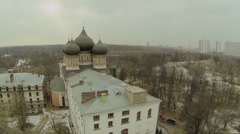 Cathedral of Protection of Theotokos near park and cityscape Stock Footage