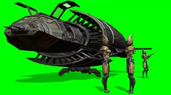 Aliens in front of her spaceship after landing - green screen - 4k - stock footage