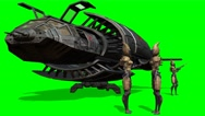 Stock Video Footage of Aliens in front of her spaceship after landing - green screen - 4k
