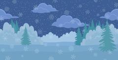 Christmas landscape, night winter forest Stock Illustration
