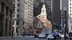 Sunlight On The Old State House Boston City Stock Footage