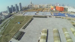 Cityscape with military base with machines for Victory Day Parade Stock Footage