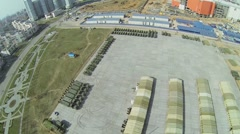 Cityscape with military machines for Victory Day Parade Stock Footage