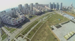 Cityscape with alley of Pilots Heroes and machines Stock Footage