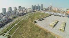 Alley of Fliers Heroes and machines for Victory Day Parade Stock Footage