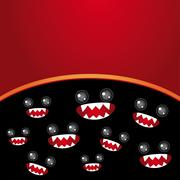 Party card. Monsters eyes and toothy mouth on black and burgundy - stock illustration