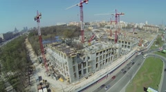 Construction site of city block VTB Arena Park and hotel Hayat Stock Footage