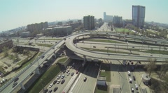 Road traffic by interchange with third transport ring Stock Footage