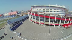 Megasport Ice Arena against cityscape at spring sunny day Stock Footage