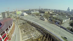 City traffic near building site of residential complex Litsa Stock Footage