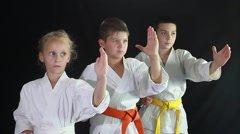 Girl and two boys engaged in karate in the gym Stock Footage