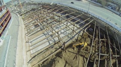 Excavators work on building site of residential complex Litsa Stock Footage
