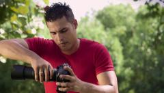 3of6 Man, people, photographer, photography, picture, camera equipment - stock footage