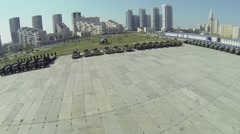Alley of Pilots Heroes and machines for Victory Day Parade Stock Footage