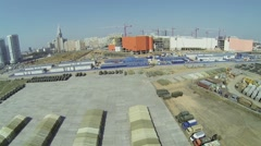 Building site of trade center Aviapark near military base Stock Footage