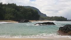 Strong waves Lumahai Beach Kauai - stock footage