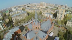 Cityscape with catholic cathedral at sunny spring day. Stock Footage
