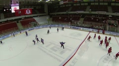 Teams warm up on ice before game during Closing Season 2013-2014 Stock Footage