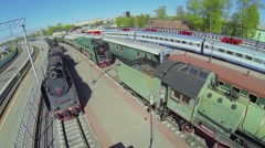 Rizhsky railway station with several old trains at spring day Stock Footage