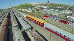 Trains museum on Rizhsky railroad station at sunny spring day Stock Footage