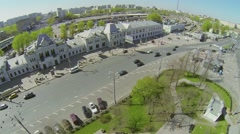 Cityscape with traffic near Rizhsky railway station Stock Footage