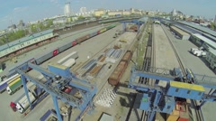 Railroad station Moscow Goods Ryazanskaya against cityscape Stock Footage