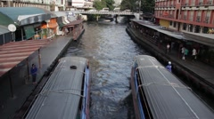 ASIA TRANSPORTATION (BOATS) - WS overhead view canal boats #2 Stock Footage