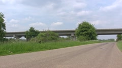 Box Girder Bridge Heumen,  spanning the river and floodplains of the river Meuse Stock Footage