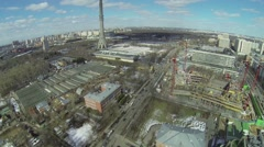 City panorama with Ostankinskaya TV tower and building site Stock Footage