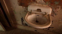 Haunted Hotel Room with Scary Sink Horror Halloween Wide Shot Stock Footage
