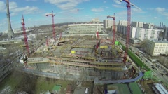 Construction site of NTV company telecentre near TV tower Stock Footage