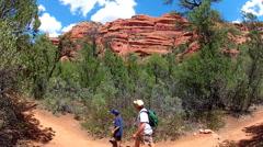 Father And Son Hike Sedona Arizona Trail Stock Footage