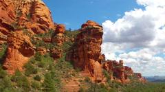 Faye Canyon Wall Above Trees- Sedona Arizona Stock Footage
