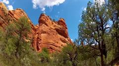 Faye Canyon Walls And Trees Pan- Sedona Arizona Stock Footage
