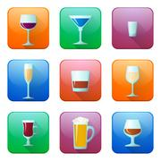 Glossy alcohol glasses icons set Stock Illustration