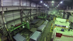 Worker are in workshop in Special Automobiles Plant. Aerial view - stock footage