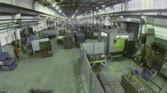 Large workshop in Special Automobiles Plant. Aerial view - stock footage
