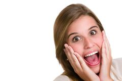 Hispanic cute young woman with surprise expression. - stock photo