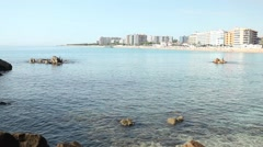Beautiful mediterranean sea with hotels in the background. Stock Footage