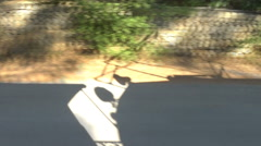 Moving shadow of  train rail car dances against the landscape Stock Footage
