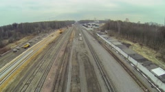 Building site of railroad tracks among forest Stock Footage
