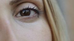 Closeup portrait of sad eyes: woman, girl, pretty, beautiful Stock Footage