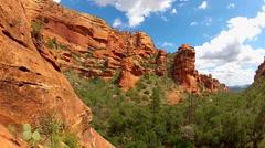 Wide Angle Pan Of Faye Canyon- Sedona Arizona Stock Footage