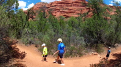 Young Mother And Sons Hike Trail In Sedona Arizona Stock Footage