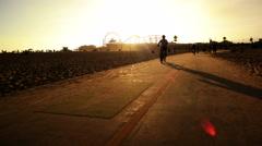 4K Santa Monica Hyperlapse 04 Bike Path Motion Timelapse at Sunset California Stock Footage