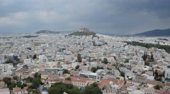View Of Athens With Mount Lycabettus In The Distance Stock Footage