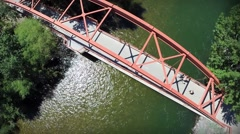 Stock Video Footage of Cool Aerial over the Orange Bridge on the Boise River to create parallax