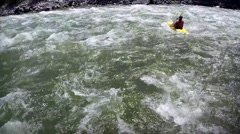 Intense River Rapids with a Kayaker paddling hard - stock footage